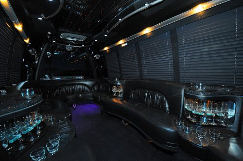 Interior of bus limo